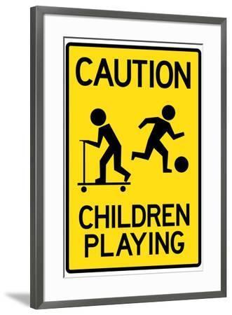Caution Children Playing--Framed Art Print