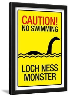Caution Loch Ness Monster Sign Art Poster Print