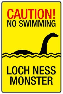 Caution Loch Ness Monster Sign Plastic Sign