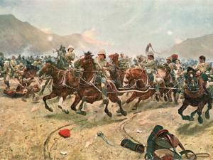 Cavalry Charge in the Battle of Maiwand During the War Between Afghanistan and Great Britain