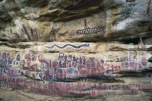 Cave Paintings with Figures and Symbols of Dogon, Sangha or Songo People, Bandiagara Escarpment