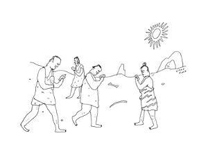 Cavemen walk around fixated on rocks, as though they are cell phones.  - New Yorker Cartoon