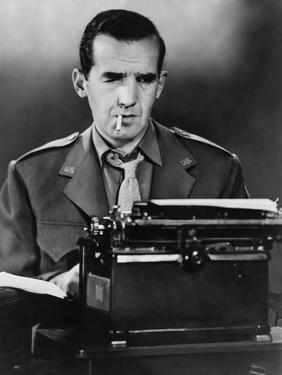 CBS News Correspondent Edward R. Murrow at His Typewriter in Wartime London