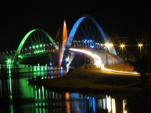 Kubitschek Bridge At Night With Colored Lighting by ccalmons