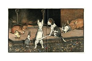 Forager the Puppy Joins the Other Animals by the Fire by Cecil Aldin