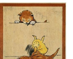 Playful English Illustration of Cats and Duck by Cecil Aldin, Ca. 1910. by Cecil Aldin