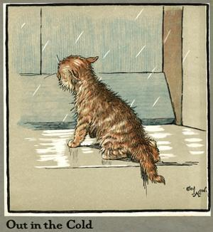 Rufus the Cat Out in the Cold and Rain by Cecil Aldin