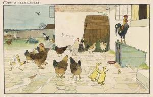 The Cock Mounted on Top of the Coop is Able to Look into the Farmhouse by Cecil Aldin