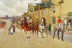 The Great North Road, the Bell at Stilton, 1902 by Cecil Aldin