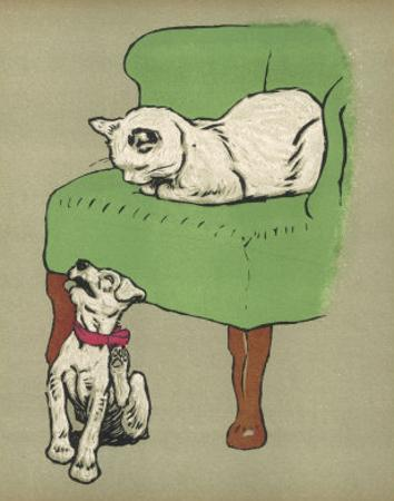 White Cat Relaxes on a Comfy Chair While a White Puppy Tries to Pull His Irritating Collar Off by Cecil Aldin