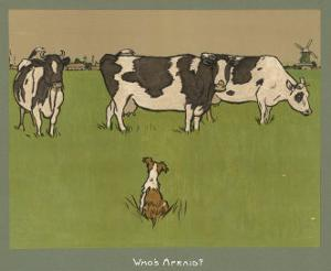 Who's Afraid, a Perky Little Dog Keeps an Eye on Three Cows by Cecil Aldin