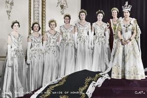 HM Queen Elizabeth II with her Maids of Honour, The Coronation, 2nd June 1953 by Cecil Beaton