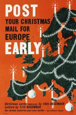 Post Your Christmas Mail for Europe Early by Cecil Walter Bacon