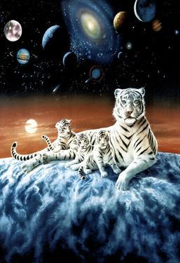 Celestial White Tigers - Space Astronomy Poster