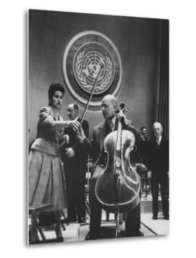 Cellist Pablo Casals Playing a Concert at the Un