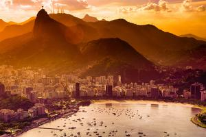 Aerial View of Buildings on the Beach Front, Botafogo, Guanabara Bay, Rio De Janeiro, Brazil by Celso Diniz