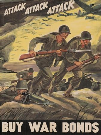 Center Warshaw Collection, Treasury Poster. ATTACK ATTACK ATTACK! BUY WAR BONDS.