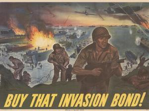 Center Warshaw Collection Treasury Poster. BUY THAT INVASION BOND!