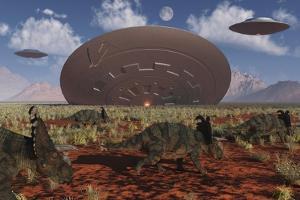 Centrosaurus Dinosaurs Walk Past a Ufo Stuck in the Ground
