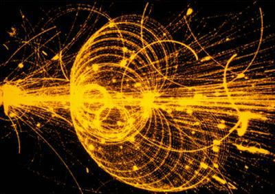 Streamer Chamber Photo of Particle Tracks by Cern