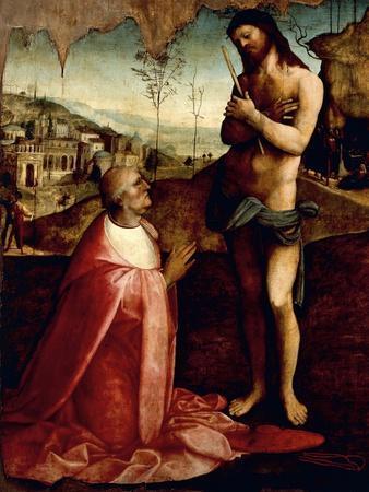 Christ Suffering and Cardinal Oliviero Carafa in Prayer