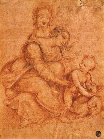 Drawing of Madonna and Child with St. Anne