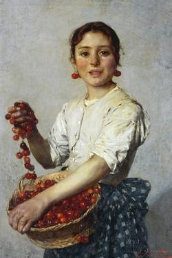 Young Girl with Cherries by Cesare Viazzi