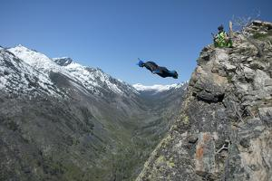 A Wingsuit Pilot Jumps for a Mountain Proximity Flight by Chad Copeland