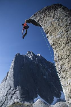 Climber Reaches the Top of Rock at Cirque of the Unclimbables by Chad Copeland