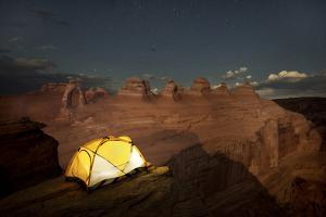 Tent at Delicate Arch in Arches National Park by Chad Copeland