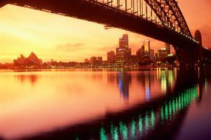 Australia, Sydney,Skyline with Opera House and Harbour Bridge by Chad Ehlers