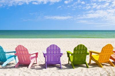 Adirondack Beach Chairs on a Sun Beach in Front of a Holiday Vac by Chad McDermott & Beach Chairs Posters for sale at AllPosters.com