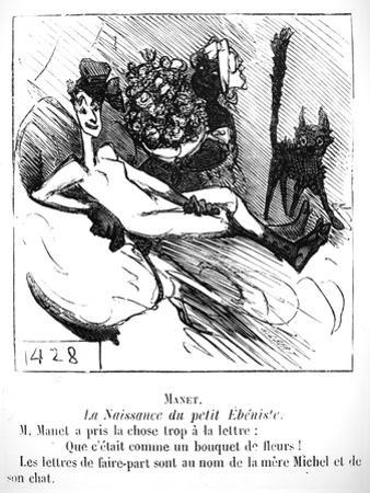 The Birth of the Little Cabinet Maker, Caricature in 'Le Charivari', 1865 by Cham