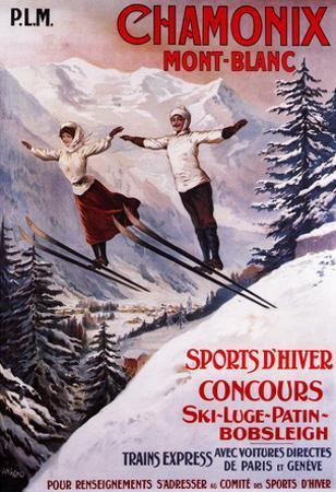 Chamonix Mont-Blanc, France - Skiing Promotional Poster