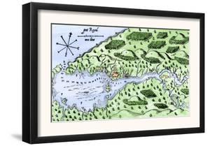 Champlain's 1613 Map of His Settlement at Port Royal, Now Annapolis Royal, Nova Scotia, Canada