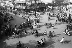 Chaos, Cycles and Rickshaws at City Road Intersection, Varanasi, Uttar Pradesh, India, 1982