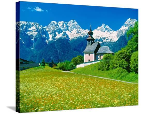 Chapel in Au, Salzburg Austria--Stretched Canvas Print