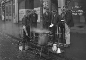 Breakfast Outside the Tacoma Commons Mission, 1930 by Chapin Bowen