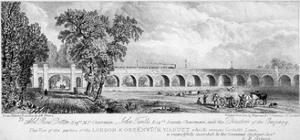 London and Greenwich Viaduct, Bermondsey, London, 1835 by Chapman & Co