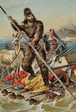 Character from Robinson Crusoe Riding on Raft