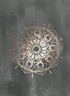 Rose Gold Foil Mandala II on Black Wash by Chariklia Zarris