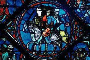 Charlemagne Departs for Spain, Stained Glass, Chartres Cathedral, France, C1225