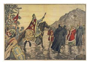 Charlemagne Makes a Pilgrimage to Mont Tombe, Now known as Mont Saint-Michel