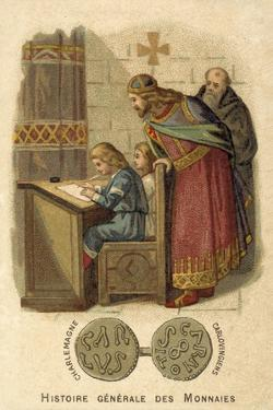 Charlemagne Watching Children Writing at School