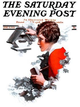 """""""Birdhouse,"""" Saturday Evening Post Cover, June 21, 1924 by Charles A. MacLellan"""