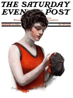 """""""Hole in Bathing Cap,"""" Saturday Evening Post Cover, August 4, 1923 by Charles A. MacLellan"""