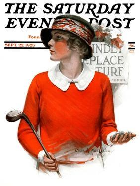 """""""Kindly Replace Turf,"""" Saturday Evening Post Cover, September 22, 1923 by Charles A. MacLellan"""