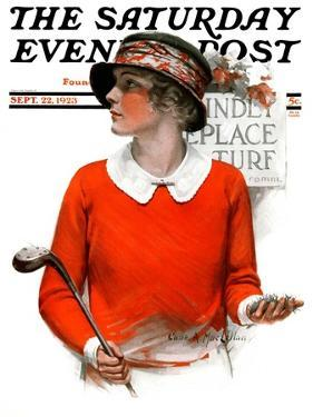 """Kindly Replace Turf,"" Saturday Evening Post Cover, September 22, 1923 by Charles A. MacLellan"