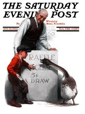 """Raffle Prize,"" Saturday Evening Post Cover, November 22, 1924 by Charles A. MacLellan"
