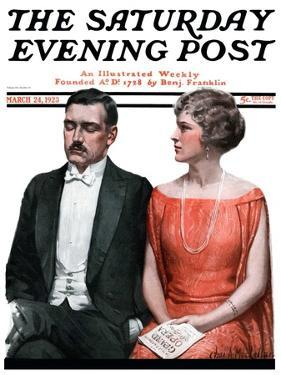 """""""Sleeping it Opera,"""" Saturday Evening Post Cover, March 24, 1923 by Charles A. MacLellan"""